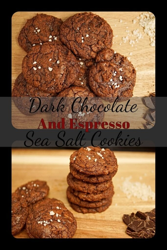 Rich, chewy dark chocolate cookies with a hint of espresso and sea salt will satisfy your sweet tooth! Perfect for your Valentines day date or any occasion you want! -APinchOfAdventure