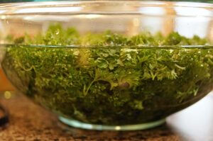 soaking parsley for authentic tabbouleh recipe