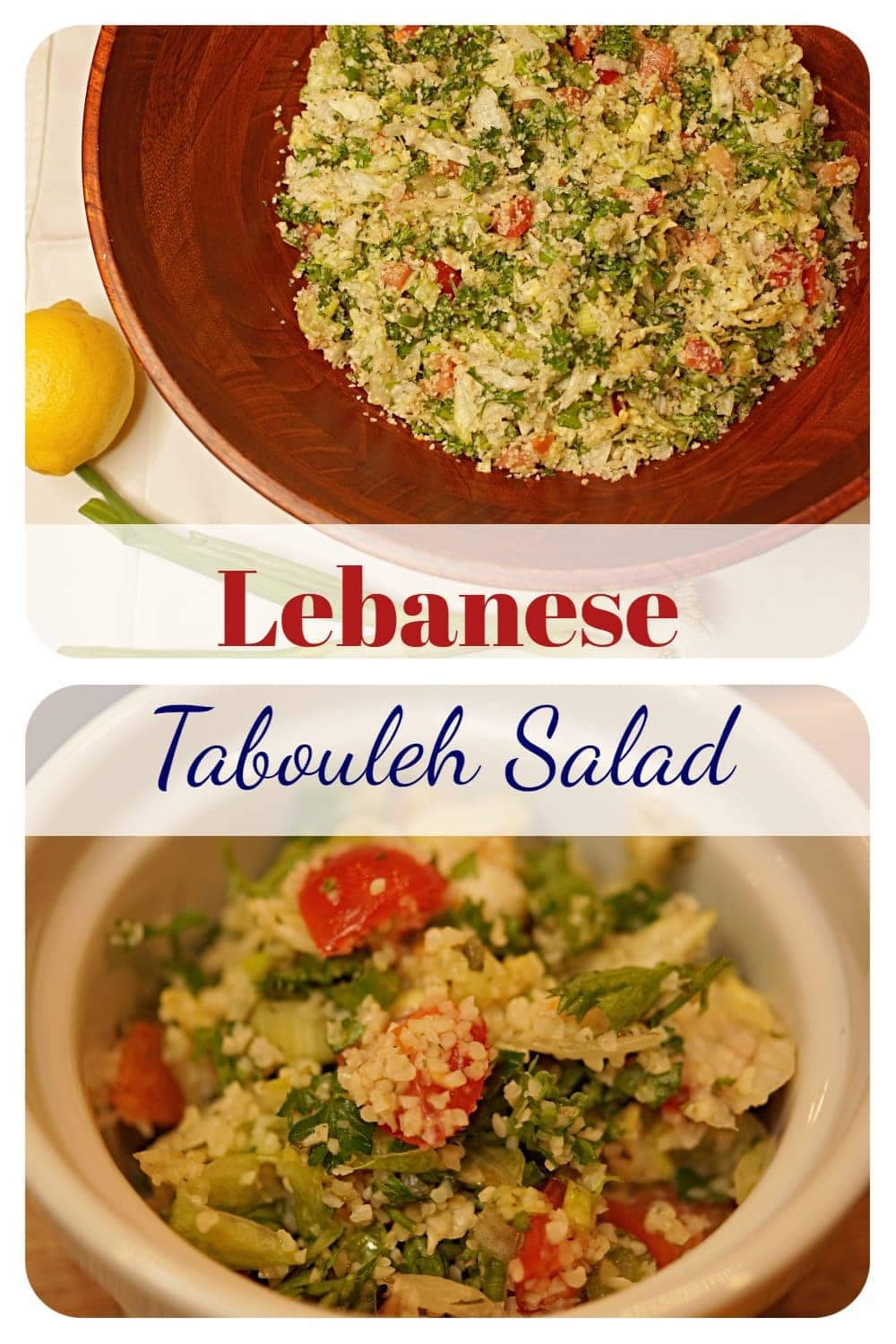 Lebanese tabbouleh is a fresh Mediterranean salad made with parsley, tomatoes, cracked wheat and an amazing lemon dressing. -APinchOfAdventure