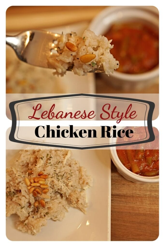 Lebanese style chicken rice is a quick and easy recipe that is sure to please the family.  Simple ingredients include pine nuts, chicken, rice and basic spices. -APinchOfAdventure