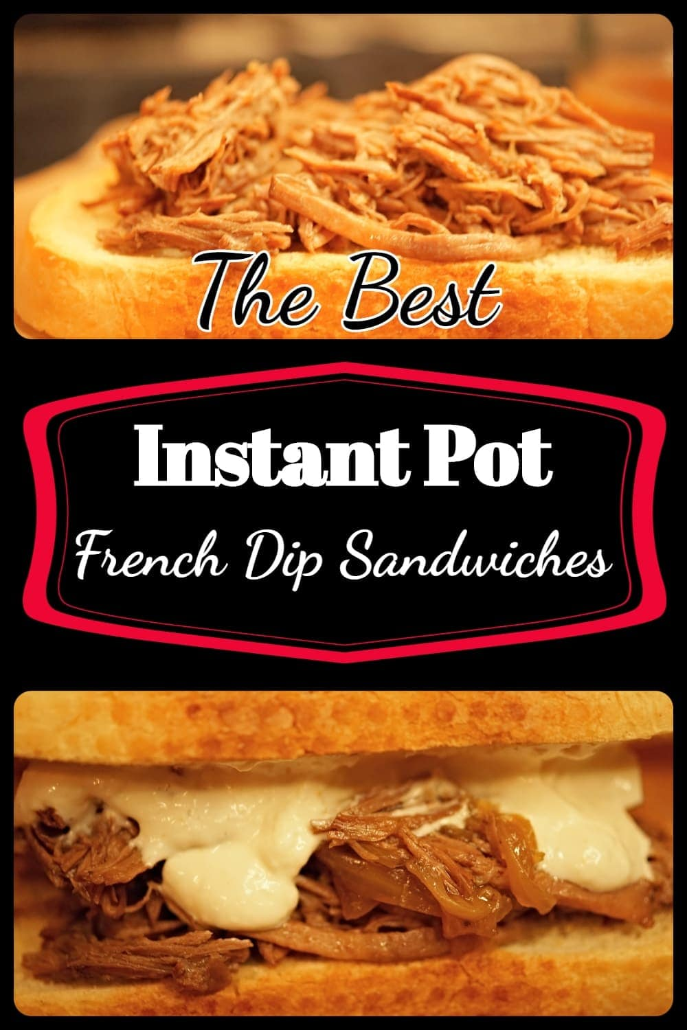 This French Dip Sandwich recipe is an easy and delicious meals made with fork tender roast beef and served with crusty french bread and au jus. Perfect for a family meal or a great idea for your next party. Easy how to steps and a quick way to get fork tender beef with an Instant Pot. -APinchOfAdventure