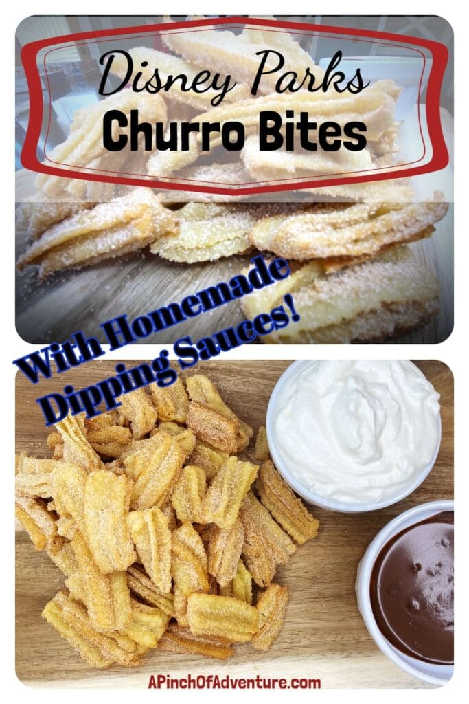 Disney Parks Churro Bites Recipe with homemade whipped cream and homemade dark chocolate sauce for dipping! -APinchOfAdventure