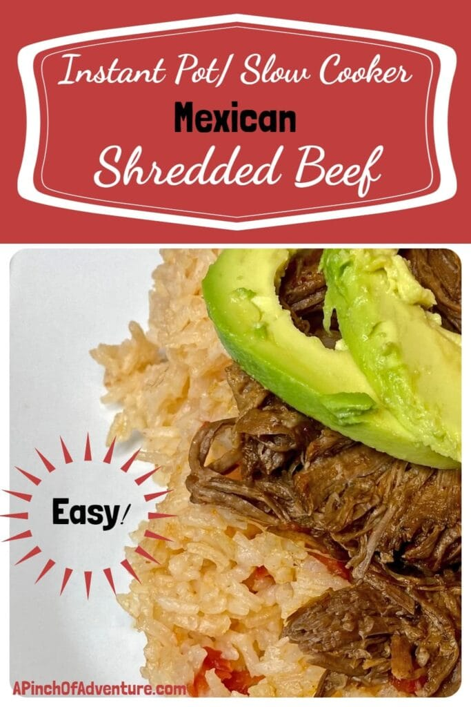 Instant Pot or Slow Cooker Mexican Shredded Beef -APinchOfAdventure