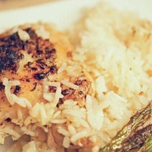 Lemony Garlic One Pan Lebanese Chicken and Rice Bake