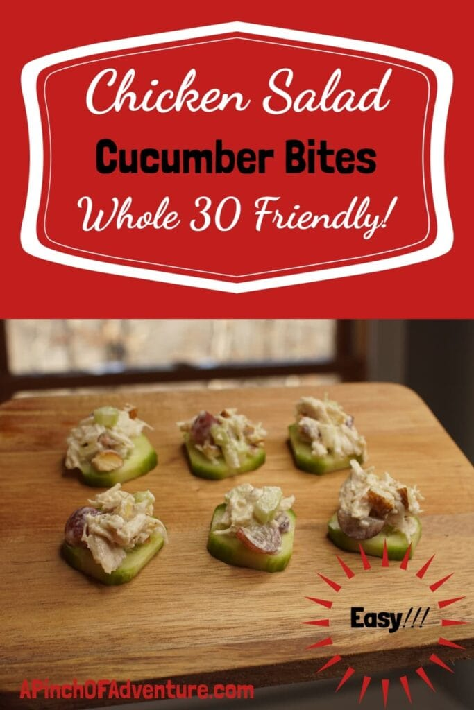This chicken salad sandwich recipe is easy, fast and delicious. It can also be made whole 30 friendly when eaten with cucumbers. -APinchOfAdventure