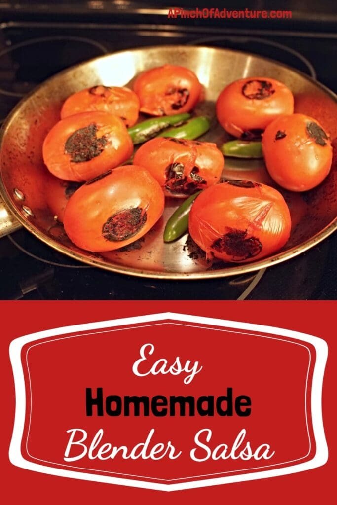 This is the BEST homemade and authentic salsa recipe made with fresh tomatoes and hot peppers. This is a blender salsa, so its very fast and easy. Charring the tomatoes is the key to flavor in this unique salsa roja recipe. It's perfect for a party appetizer or for a healthy snack. -APinchOfAdventure