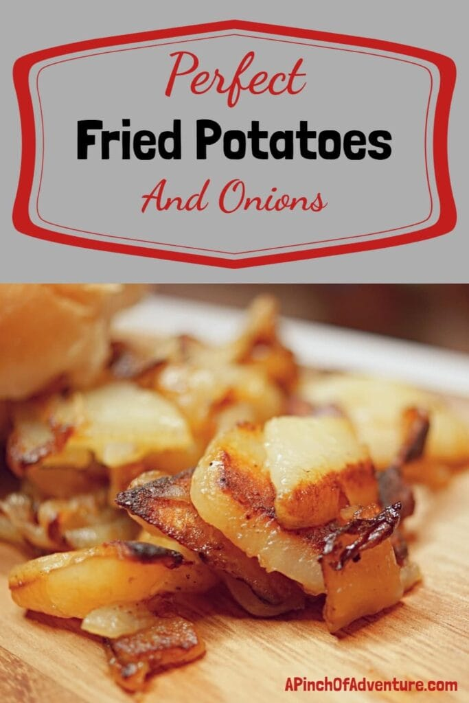 This is the best fried potatoes and onions recipe. It's a copycat recipe from Lambert's cafe and a classic southern potato side dish. These pan fried potatoes are the best side dish to any meal and it's kid friendly and delicious! -APinchOfAdventure