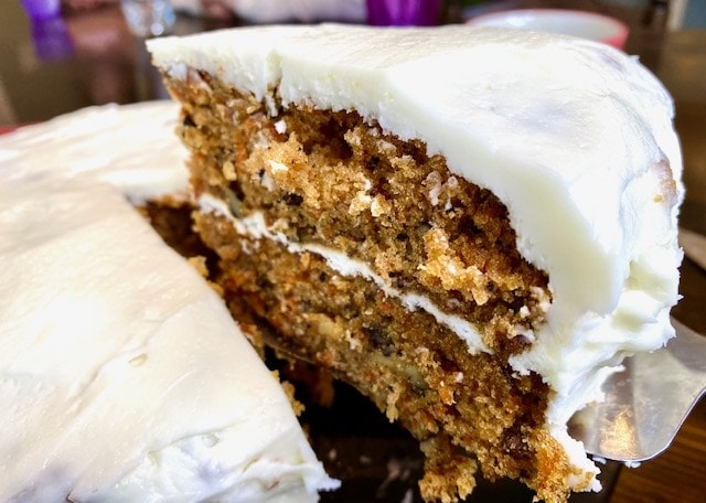 carrot cake from scratch with homemade cream cheese frosting