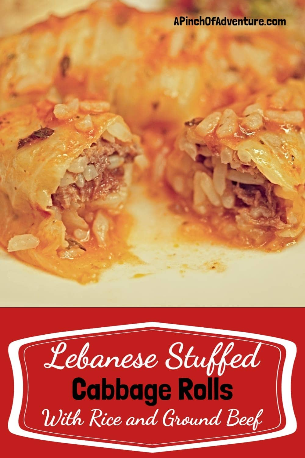 Looking for the best cabbage dish? Here is your recipe for traditional stuffed cabbage rolls. Each roll is a wrap stuffed with rice, ground beef and Mediterranean spices and cooked in tomato sauce to perfection. Healthy, delicious and an easy step by step tutorial how to roll the cabbage leaves. -APinchOfAdventure