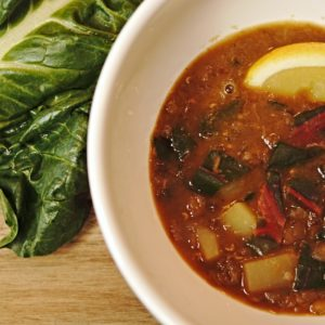 Mediterranean Lentil Soup with Swiss Chard