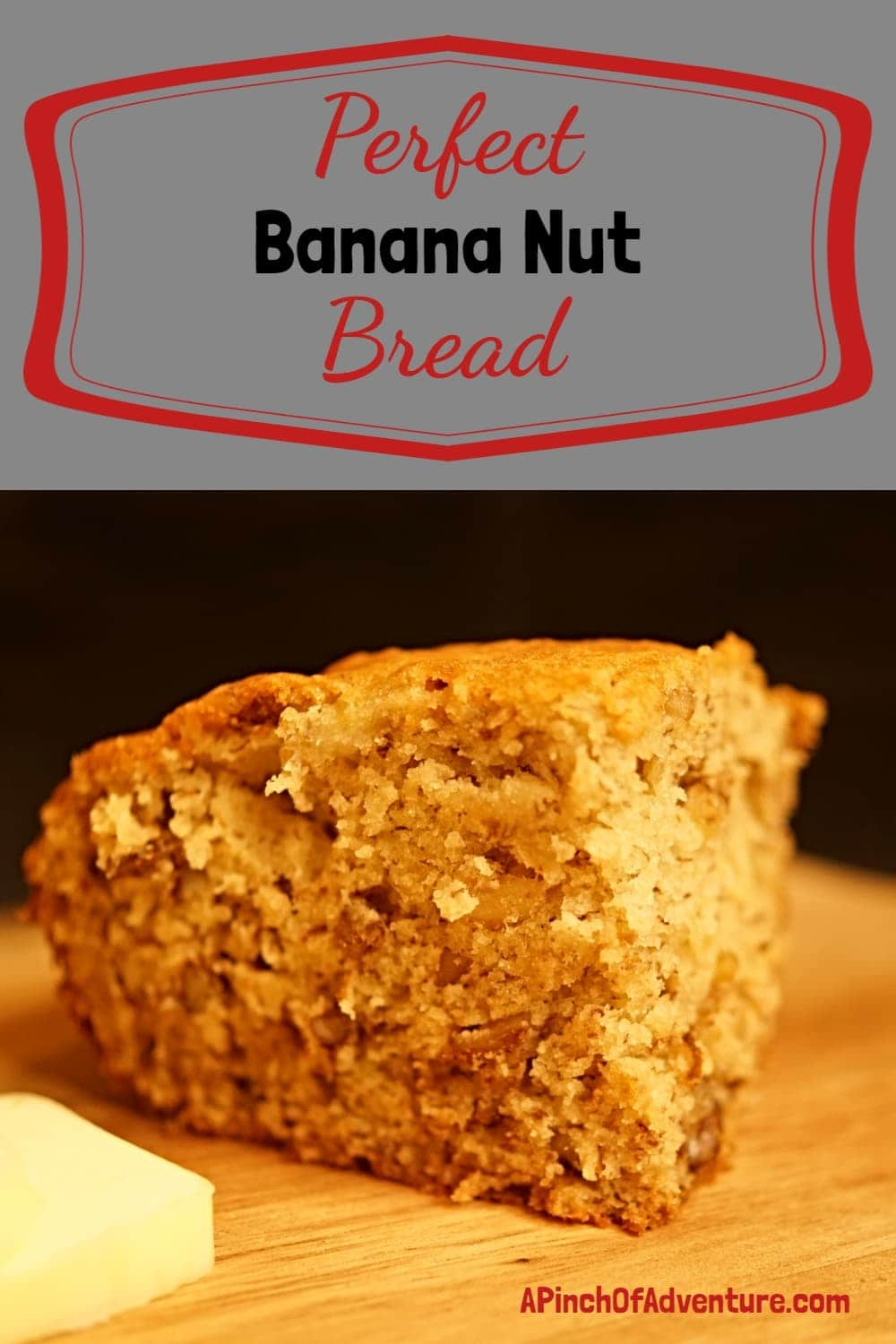 This perfect, easy banana bread is the best recipe to use those old bananas. This banana bread is perfectly moist and contains walnuts. You could easily add chocolate chips or different nuts or it can be made into muffins. This is a quick and easy recipe for homemade banana bread. -APinchOfAdventure