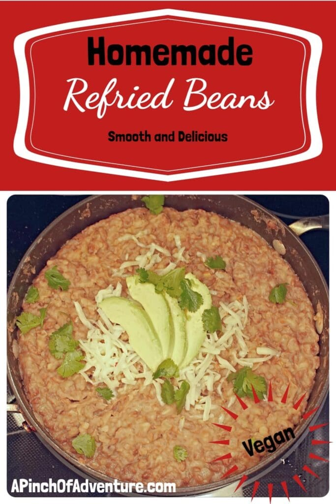 This authentic homemade refried beans recipes is the best recipe out there. Using an instant pot to cook the beans reduces the time and the flavor and smooth texture of these refried beans cannot be compared to any canned bean on the market. -APinchOfAdventure