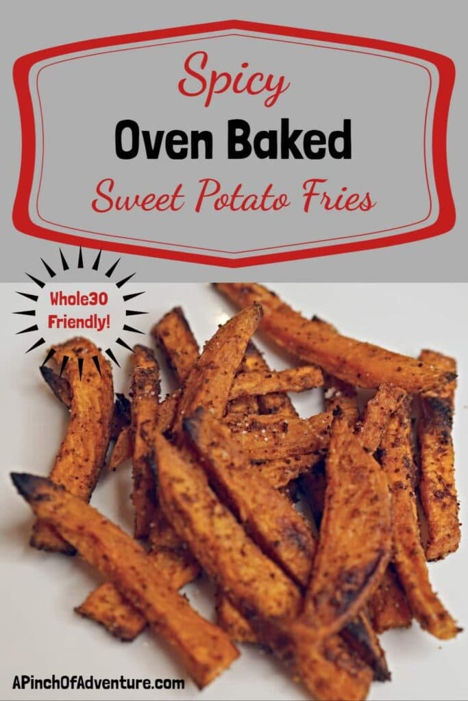 This oven baked sweet potato fries recipe is THE BEST recipe out there. It is Whole 30 friendly with a little kick and the sweet potato wedges come out crispy every time. This is a great healthy side dish and the whole family will love as well. -APinchOfAdventure