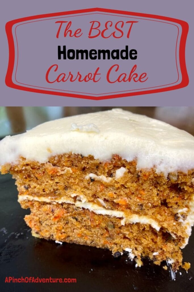 This is by far the BEST recipe for homemade carrot cake from scratch! The carrot cake recipe with walnuts is perfectly moist and frosted with amazing cream cheese frosting from scratch also. This is the perfect spring dessert, perfect for any party or Easter brunch. I use walnuts in it but feel free to add raisins or to make it as cupcakes! -APinchOfAdventure
