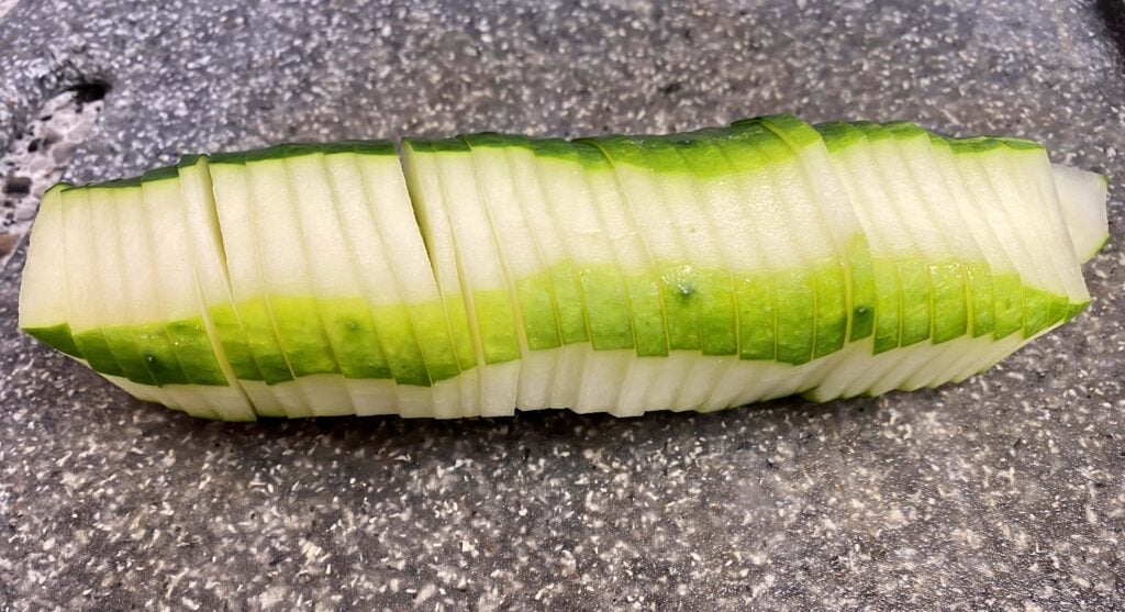 sliced cucumbers for Lebanese cucumber salad