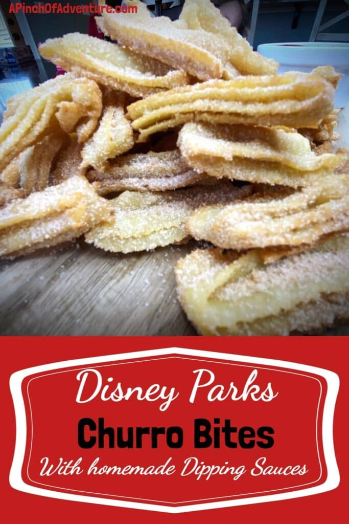 Step by step recipe for Churro Bites straight from Disney Parks blog with homemade whipped cream and homemade dark chocolate sauce for dipping! These homemade Mexican churros are a family hit, complete with video in link. #easyrecipe #receta #recetadechurroscaseros #churrototsfromdisney