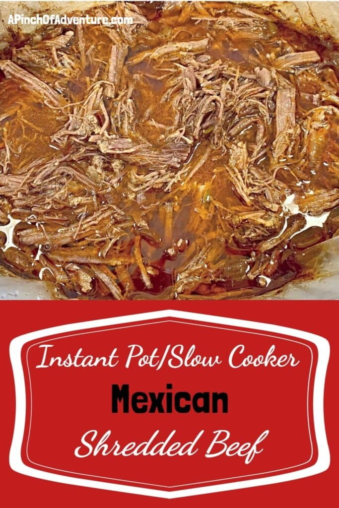 This instant pot or slow cooker barbacoa beef recipe is super easy and delicious. Eat this Mexican shredded beef over rice, with tacos, enchiladas, quesadillas or flautas with your favorite toppings. This authentic Mexican food recipe is super easy!