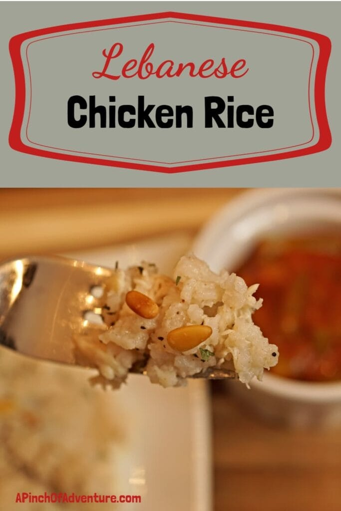 Lebanese chicken rice is a traditional Arabic food recipe made with rice, chicken, cinnamon and toasted pine nuts. It is a delicious and healthy recipe the is surprisingly easy and fast to make! This easy Mediterranean recipe is made with simple ingredients and is family friendly. -APinchOfAdventure