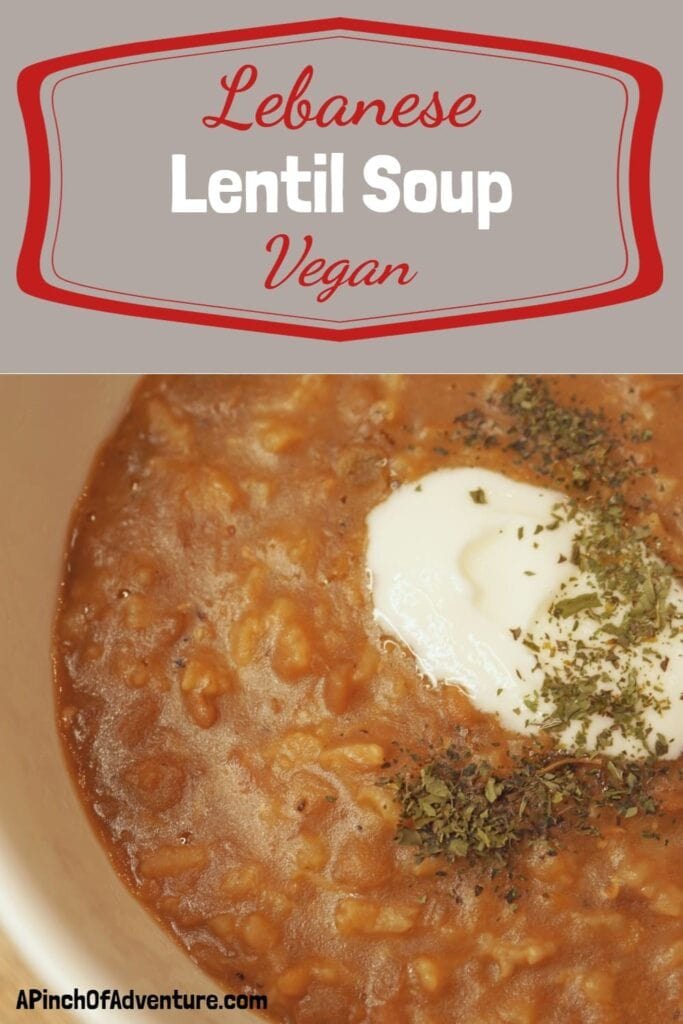 """Savory lentils cooked with caramelized onions, rice and spices is the most delicious vegan recipe. This cuisine, originating in Lebanon, this dish is known as """"Poor Man's Soup."""" This recipe is vegan, healthy and great for the Mediterranean diet. The perfect idea for brown lentils with a deep rich flavor. #vegetarian #healthymeal #healthyrecipe #Lebanesefood #lentilsoup #meatless #lent"""