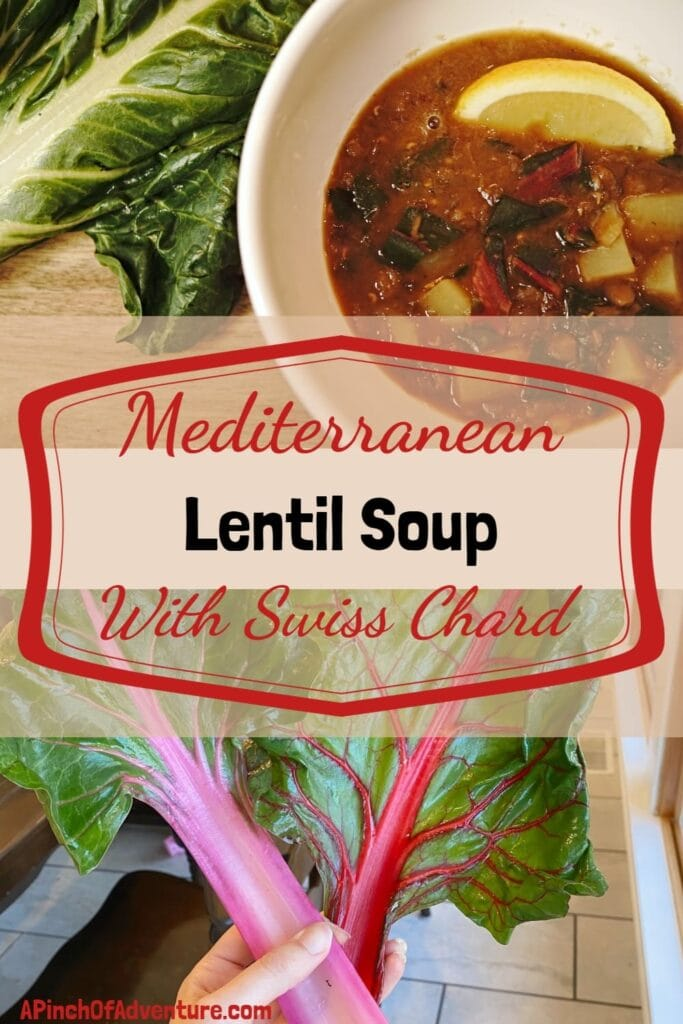 Mediterranean Lentil Soup with Swiss Chard and Potatoes is a delicious Lebanese soup that is a beautiful blend of spices and lemon. This vegan soup is a tasty and healthy dinner idea full of deep rich flavor of caramelized onions and protein packed lentils. If you are looking for a Swiss chard recipe, this is it. #vegetarian #vegan #grainfree #glutenfree #dairyfree #mediterraneandiet #healthy