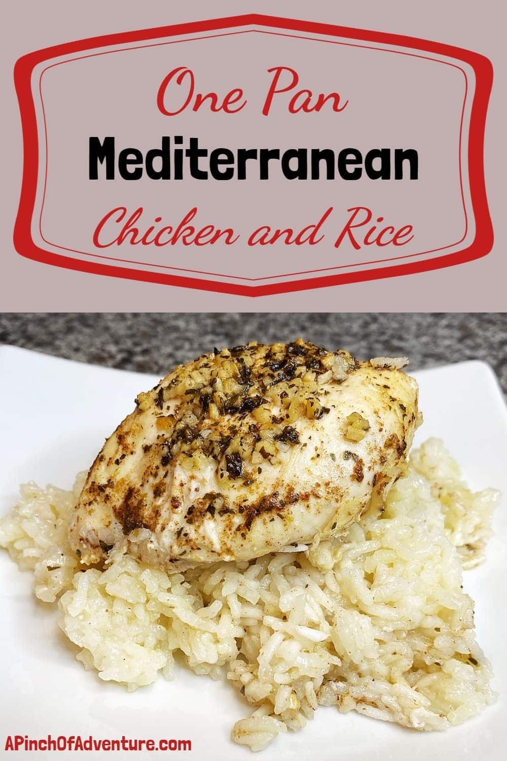 This easy Mediterranean baked chicken and rice dish is full of fresh flavors of lemon, garlic and mint. This one pan chicken dinner idea has it all. It is a quick, delicious and healthy one pan dinner recipe with a Lebanese flare. #healthydinner #recipe #chickendinner #easymeal #onepan #sheetpan #healthyfood #glutenfree #dairyfree #delicious