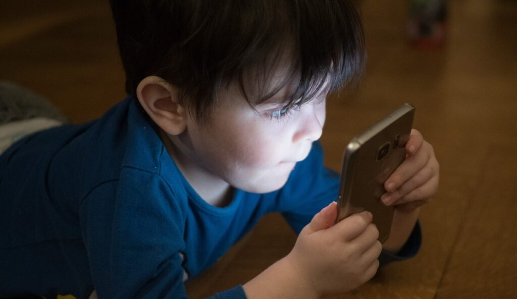 Child on a screen