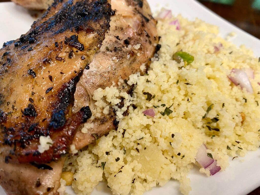Grilled Mediterranean Chicken recipe with couscous salad