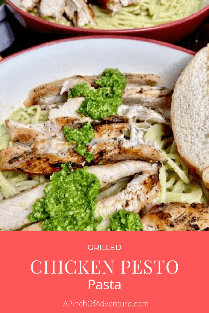 Wondering what to make with pesto?! Look no further, this grilled chicken pesto pasta is so easy and delicious and a great quick dinner idea. Use homemade pesto or store bought jarred pesto to make it even easier. This pasta with pesto and chicken is the perfect fresh meal that is family friendly. this pesto pasta dish is made with a homemade creamy pesto sauce and is full of flavor. Adding the grilled chicken makes this a full and tasty dinner.