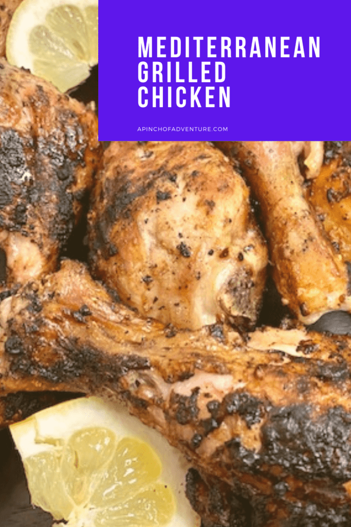 If you are looking for an easy grilled chicken recipes idea for dinner check this out. This bone in grilled chicken is quick and easy with a Mediterranean spice rub and super healthy as well. This juicy chicken recipe is gluten free, whole 30 and keto friendly and follows the Mediterranean diet. -APinchOfAdventure