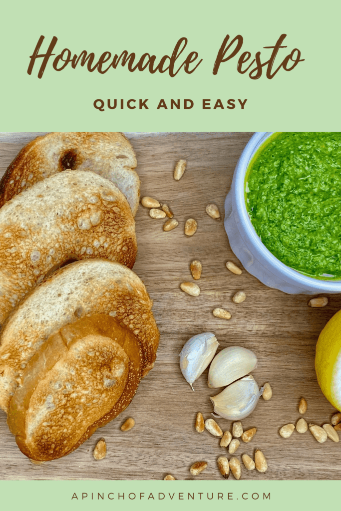 This is the BEST homemade pesto recipe and it is quick and easy as well. Ready in under 5 minutes, this healthy pesto is made with fresh basil, spinach, and pine nuts. It can also be made without pine nuts and with walnuts instead. If you are wondering what to do with fresh basil, try making this easy pesto recipe. It's also vegetarian and gluten free. #basil #basilpesto #pesto #pestorecipe #easypesto #appetizer #healthyrecipe