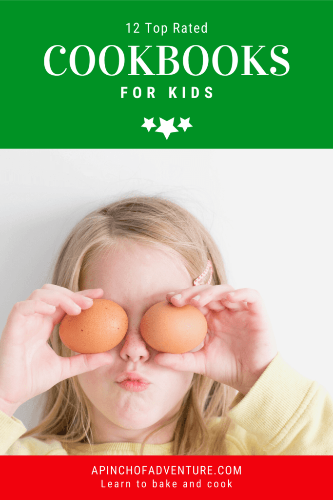 Here are the 12 top rated cookbooks for kids and beginners. This is a list of the best cookbooks that teach basic kitchen skills with easy and healthy homemade recipes. These cookbooks will help teach your child to bake and cook while making it fun to be in the kitchen. Help your young chef to learn amazing recipes international recipes, easy snacks, lunches, dinners and even vegetarian recipes as well. #cooking #easycooking #easyrecipes #recipesforkids