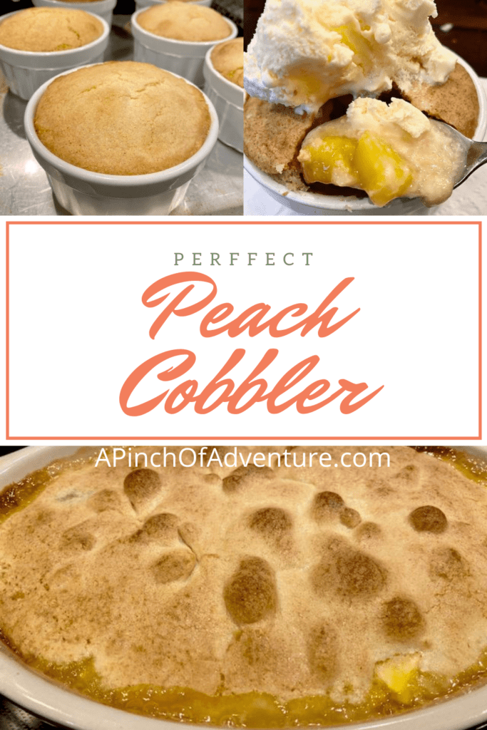 This delicious and easy peach cobbler is made from scratch with fresh peaches and an amazing, cake-like topping. The batter is flour based and is crunchy on the top and bread-like underneath and melts into the gooey sweet peaches. Serve with vanilla ice-cream and this make the perfect, easy homemade peach cobbler recipe. This recipe is simple and has a southern flare, and is a great peach recipe for dessert.