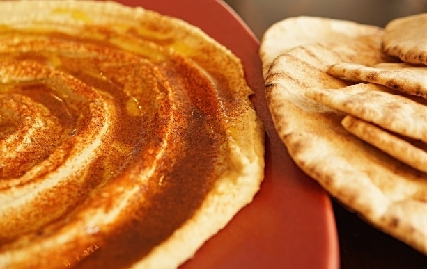 Pita bread with hummus, hummus Mediterranean
