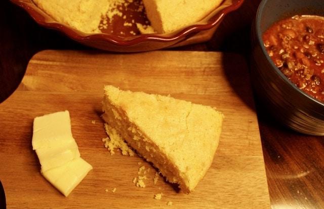 Homemade sweet cornbread in a cast iron skillet