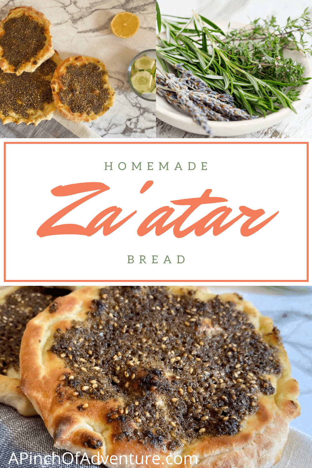 Lebanese Flat bread, or za'atar bread is a traditional yeast bread made with za'atar seasoning blend. It is also called, Manakish, man'ouche, or manakeesh. The Za'atar spice on top is a mixture of toasted thyme, sesame seeds, sumac , olive oil and lemon juice. This savory tart is baked to perfection, with perfectly soft pita bread and is usually served warm, either with hummus or by itself. Sometimes this manaqish is made with cheese as well and is similar to a Middle Eastern Pizza. -APinchOfAdventure