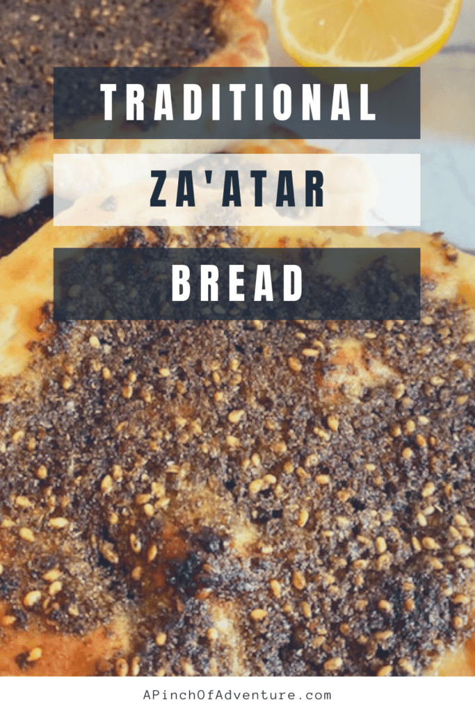 Lebanese Flat bread, or za'atar bread is a traditional yeast bread made with za'atar seasoning blend. It is also called, Manakish, man'ouche, or manakeesh. The Za'atar spice on top is a mixture of toasted thyme, sesame seeds, sumac , olive oil and lemon juice. This rustic savory tart is baked to perfection, with perfectly soft pita bread and is usually served warm, either with hummus or by itself. Sometimes this manaqish is made with cheese as well and is similar to a Middle Eastern Pizza. -APinchOfAdventure
