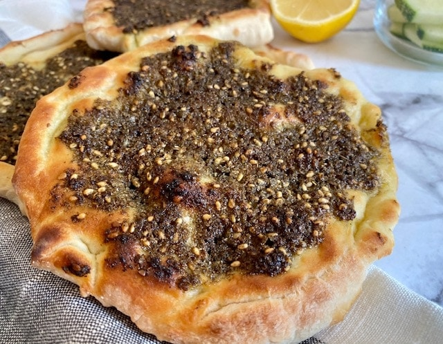 Lebanese flat bread recipe with za'atar seasoning