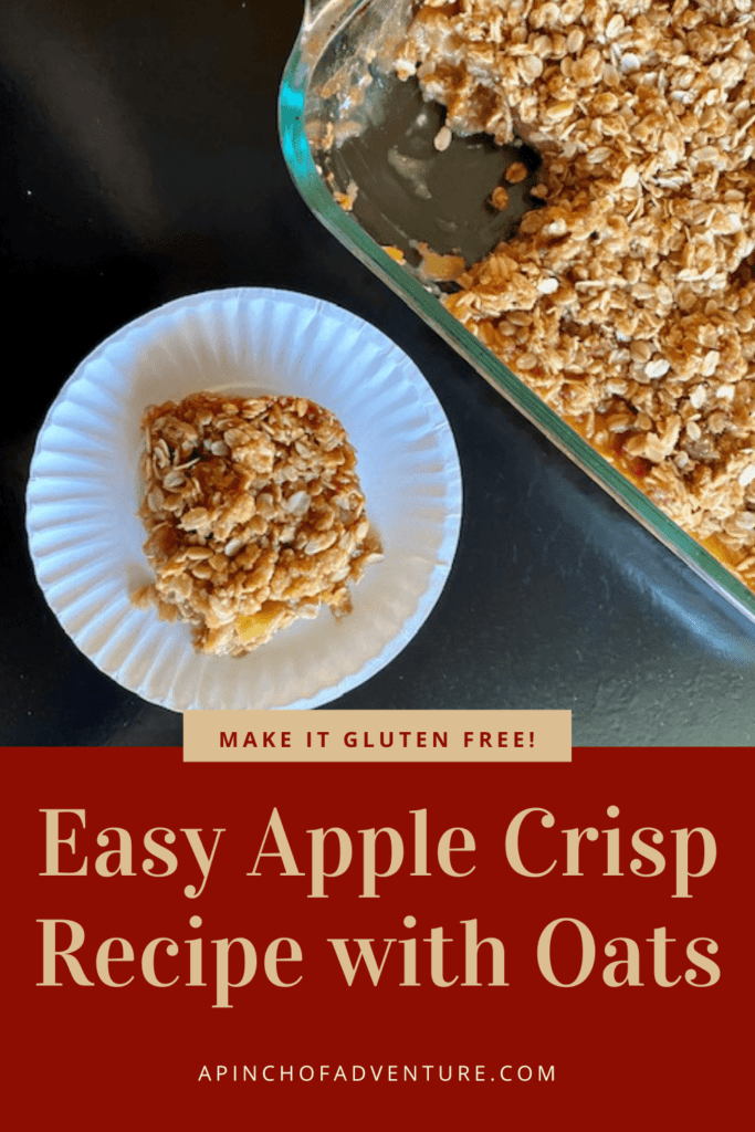 This is the best homemade apple crisp made with a delicious oats crumble topping. It can be made in a cast iron skillet or in a 9 x 13 pan. Prepare it with gluten free oats and almond flour to make it GF and enjoy this amazing apple dessert warm a la mode. The brown sugar and oat topping is the best apple crisp topping out there and is extra crispy. This is the best easy fall dessert idea with apples and it feeds a crowd