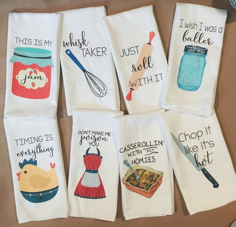 Funny dish towels, a great funny gift for someome's kitchen