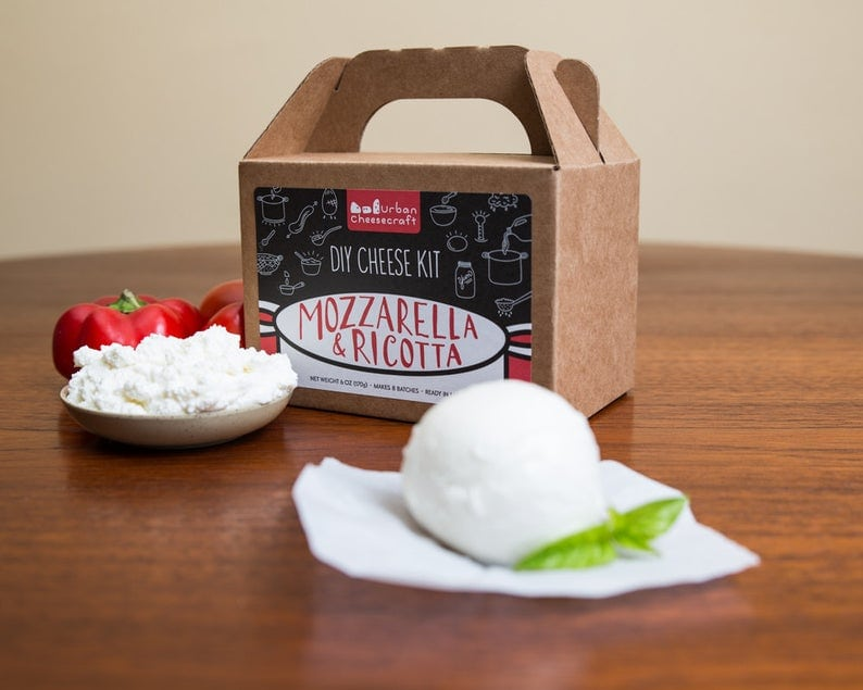 Gift idea for a cheese lover or a DIY cook.  Mozzarella and ricotta cheese making kit