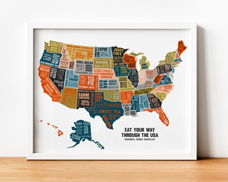 Scratch off American Food Map. Gift Idea for Foodies