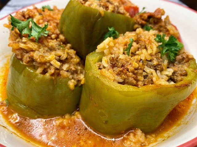 Lebanese Style Stuffed peppers with ground beef and rice