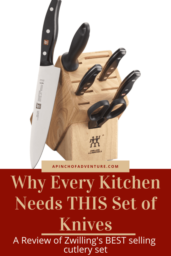 Put this on the kitchen must have list for the THE BEST kitchen knives! This is a review of Zwilling's best selling knife set for cooking at home. Includes different sizes of kitchen knives along with a chef's knife and the block for easier kitchen knife storage solutions. These knives are essential kitchen tools for every cook or chef. This is a MUST HAVE kitchen item, great for a gift or to have in your own kitchen