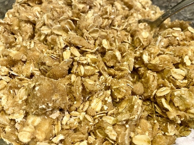 Crispy oatmeal topping for apple crisp, made with oats, brown sugar, butter and salt