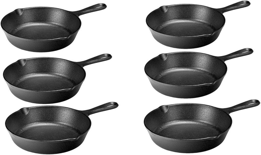 Individual cast iron skillet set of 6
