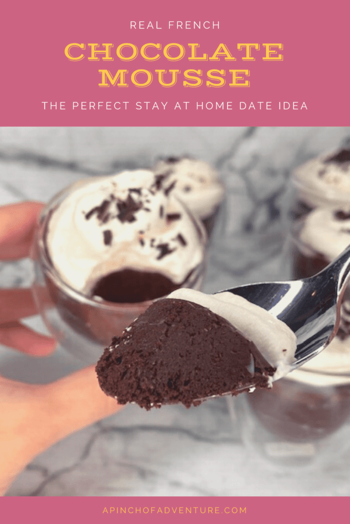 This dark chocolate mousse recipe is perfect for a date night at home idea. It is the best romantic dessert idea for a stay at home date. This fancy chocolate recipe is perfect for an anniversary dinner for two idea. The dark chocolate and espresso mousse is homemade and this recipe is complete with a video. Dark Chocolate mousse with espresso. Dessert recipe for Valentine's Day