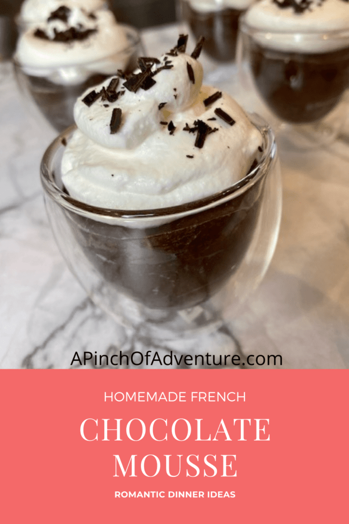 This dark chocolate mousse recipe is perfect for a date night at home idea. It is the best romantic dessert idea for a stay at home date. This fancy chocolate recipe is perfect for an anniversary dinner for two idea. The dark chocolate and espresso mousse is homemade and this recipe is complete with a video. Dark Chocolate mousse with espresso