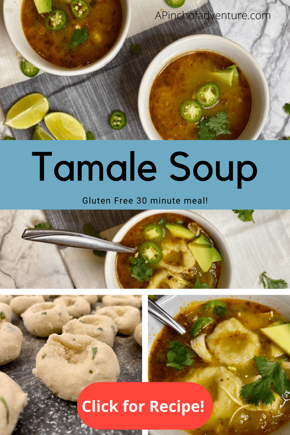 This spicy chicken and dumplings soup is the perfect gluten free recipe out there! Made with Corn Masa Dumplings (chochoyotes). This is comfort food with a twist. Made with salsa verde and rotisserie chicken, it such a fast recipe especially if you are looking for easy recipes. It is the best gluten free and dairy free recipe! Sopa de pollo