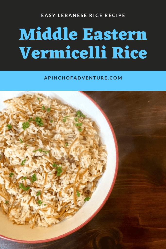 Middle Eastern recipes are delicious, especially this rice dish. This rice is made with vermicelli browned in butter and served with your favorite shawarma or with Arabic food. This side dish is full of flavor and easy to make!