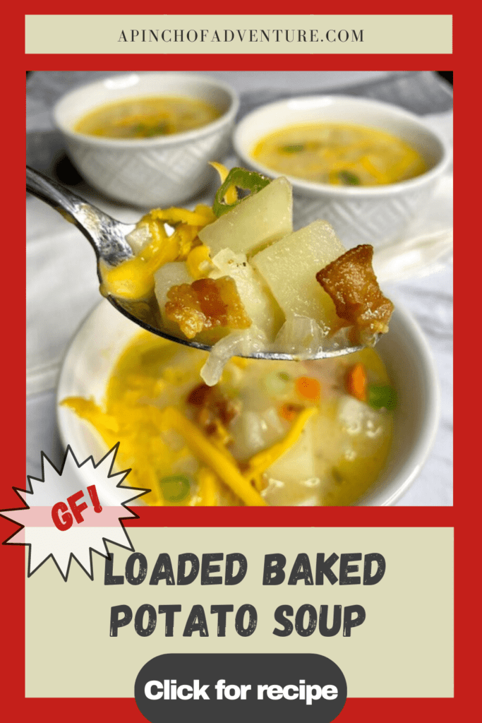 This loaded baked potato soup recipe is the BEST potato soup recipe out there! This easy potato soup is creamy and delicious and topped with bacon and all the toppings for baked potatoes. This stove top potato soup is similar to Pioneer Woman's perfect potato soup however it is gluten free and loaded with more bacon. It is the perfect blend of creamy and chunky potatoes and cheesy goodness and is the perfect hot soup for a cold night!